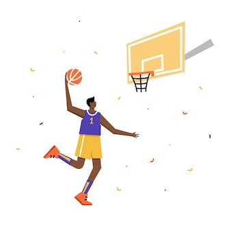 Men's basketball championship poster. basketball player shooting ball to the hoop. sport banner
