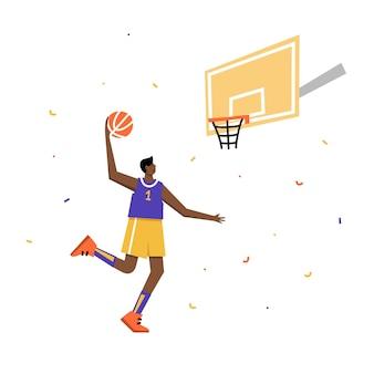 Афиша мужского чемпионата по баскетболу. баскетболист стреляет мячом в обруч. спортивный баннер