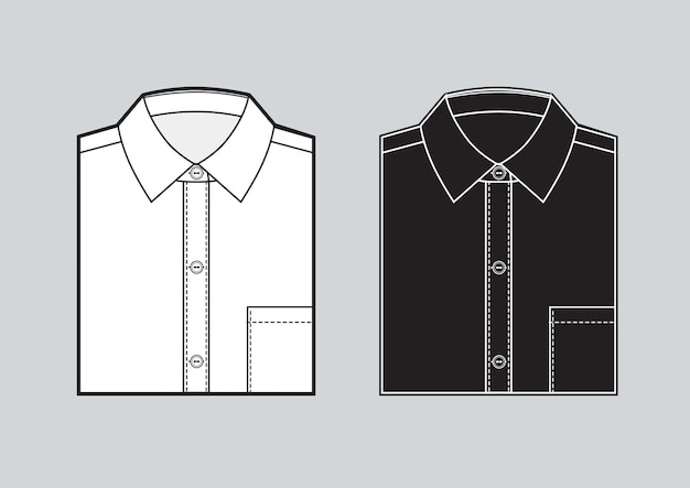 Men's blank folded shirt template. two shirts set. black and white shirts. vector