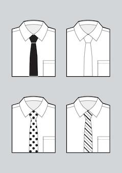 Рубашки мужские сложенные заготовки с комплектом завязок. черно-белый рисунок. вектор
