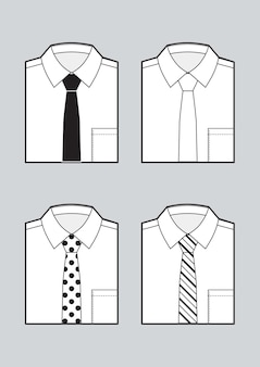 Men's blank folded shirts with ties set. black and white sketch. vector