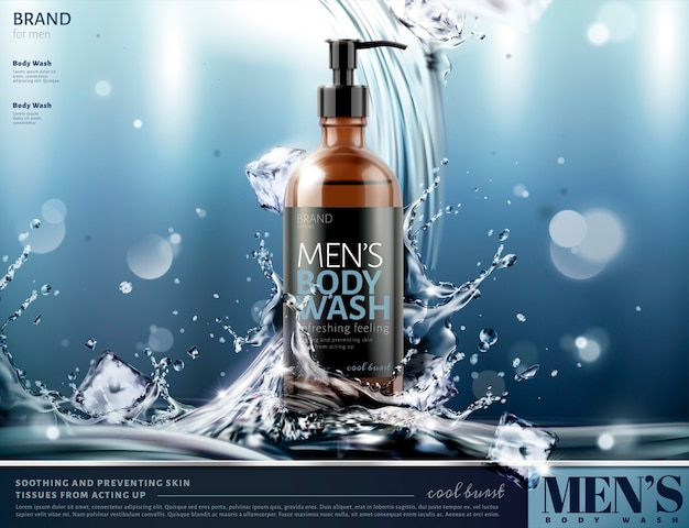 Men's body wash ads with splashing water and ice cubes  on glittering background