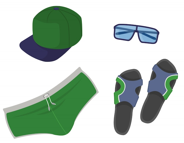 Men's clothing and accessories. beach collection in cartoon style.