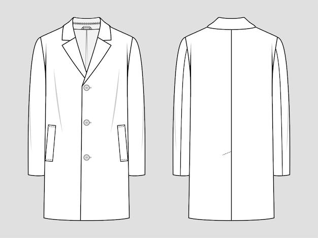 メンズコート。クラシックなウィンターコート。ファッションスケッチ。フラット製図。