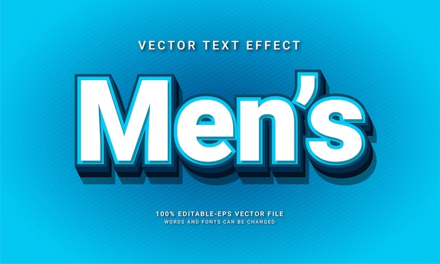 Men's editable text style effect with blue color