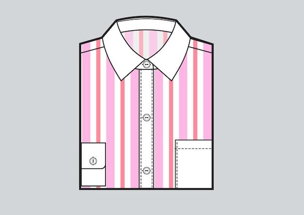 Men's folded striped shirt. pink strips print. vector illustration