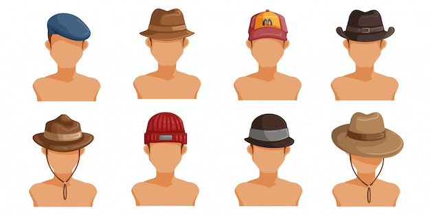 Men's hats set. collection of men's head.  userpics of hair style different male.