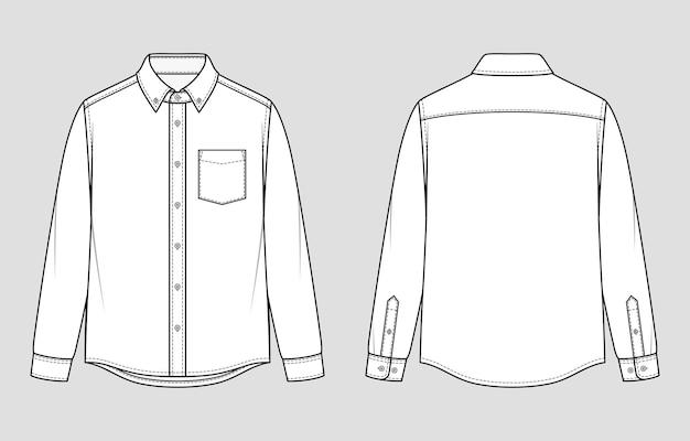 メンズシャツ。ボタンダウンの襟と袖口の長袖。リラックスフィット。ベクトルイラスト。フラット製図。モックアップテンプレート。