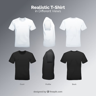 mens t shirt in different views with realistic style - T Shirt Template Psd Free Download