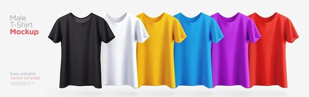 さまざまな色のメンズtシャツのリアルなモックアップ。ベクトルイラスト Premiumベクター