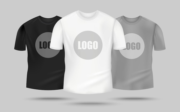 Men's t-shirt  set in black, white and grey color with logo template in the center, realistic clothing  for merchandise  -