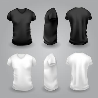 Мужская бело-черная футболка с коротким рукавом. вид спереди, сбоку и сзади.