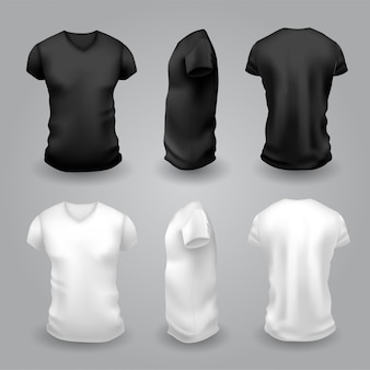 Men's white and black t-shirt with short sleeve. front, side and back view.