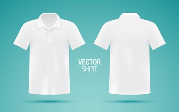 Мужская белая рубашка поло шаблон. реалистично
