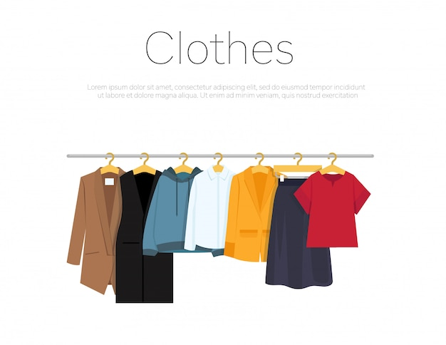 Men's and woman's clothes on hangers template