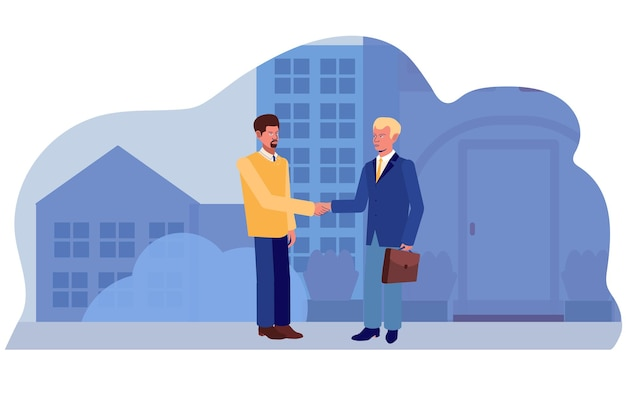 男性は街の通りの背景で握手します。商売上の取引。ベクトルイラスト。