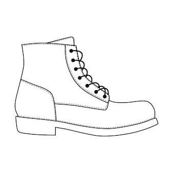 남자 신발 브로그 트림 플랫폼 브루투스 부츠가 분리되었습니다. 남성 남자 시즌 레이스 업 신발 아이콘입니다. 기술 스케치. 신발 벡터 일러스트 레이 션
