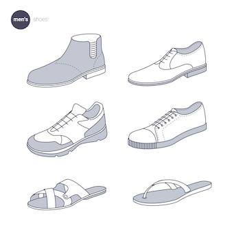 남자 신발. 옷가는 선 스타일.