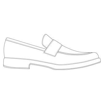 남자 신발 절연입니다. 클래식 로퍼. 남성 남자 시즌 신발 아이콘입니다. 기술 도면 신발 벡터 일러스트 레이 션