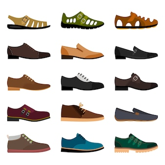Men shoes isolated. vector vogue winter leather and summer fashion model man shoe collection illustration