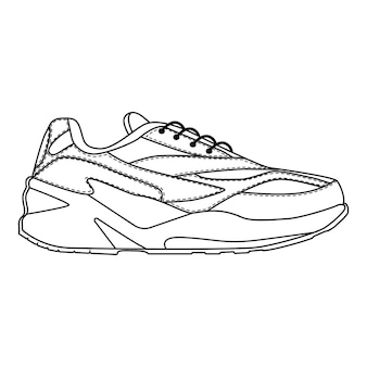 Мужские кроссовки кроссовки изолированы. сезонная обувь мужского пола или беговые иконки. технический эскиз. обувь векторные иллюстрации