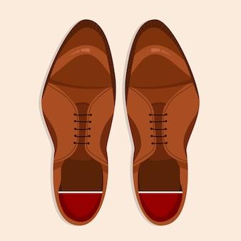 メンズシューズトップダウンビュー。古典的な茶色のひもで締められた男性の靴のイラスト。 webおよび印刷用の手描きのクリップアート。男性の靴のペアのトレンディなレイアウトスタイルのイラスト。