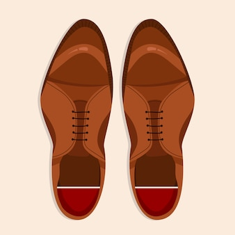 Men shoes top down view. classic brown laced men shoes  illustration. hand-drawn  clip art for web and print. trendy -lay style illustration of a men shoe pair.