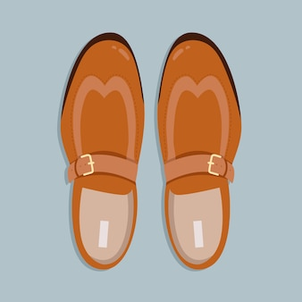 Men shoes top down view. classic light brown men shoes without laces  illustration. hand-drawn  clip art for web and print. trendy -lay style illustration of a men shoe pair.