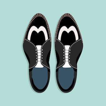 ひも付きメンズシューズ。トップダウンビュー。古典的な黒と白の男性の靴のイラスト。 webおよび印刷用の手描きのクリップアート。男性の靴のペアのトレンディなレイアウトスタイルのイラスト。