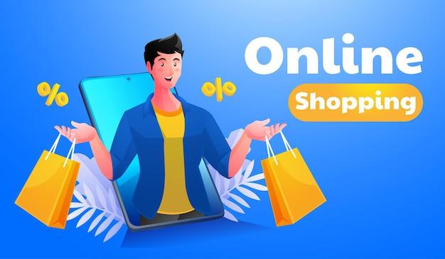 Мужчины делают покупки в интернете с помощью мобильного смартфона