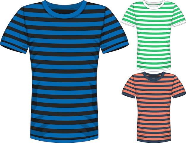 ストライプ付き3色のメンズ半袖tシャツデザインテンプレート