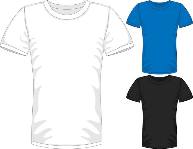 3つの色の男性の半袖tシャツのデザインテンプレート