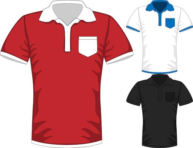 3つの色の男性の半袖tシャツポロデザインテンプレート