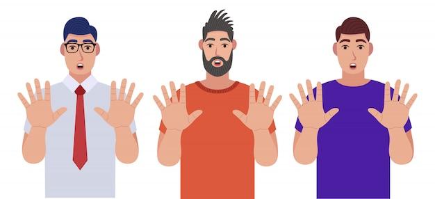 男性は手でジェスチャーを停止します。キャラクターセット。漫画のスタイルのイラスト。