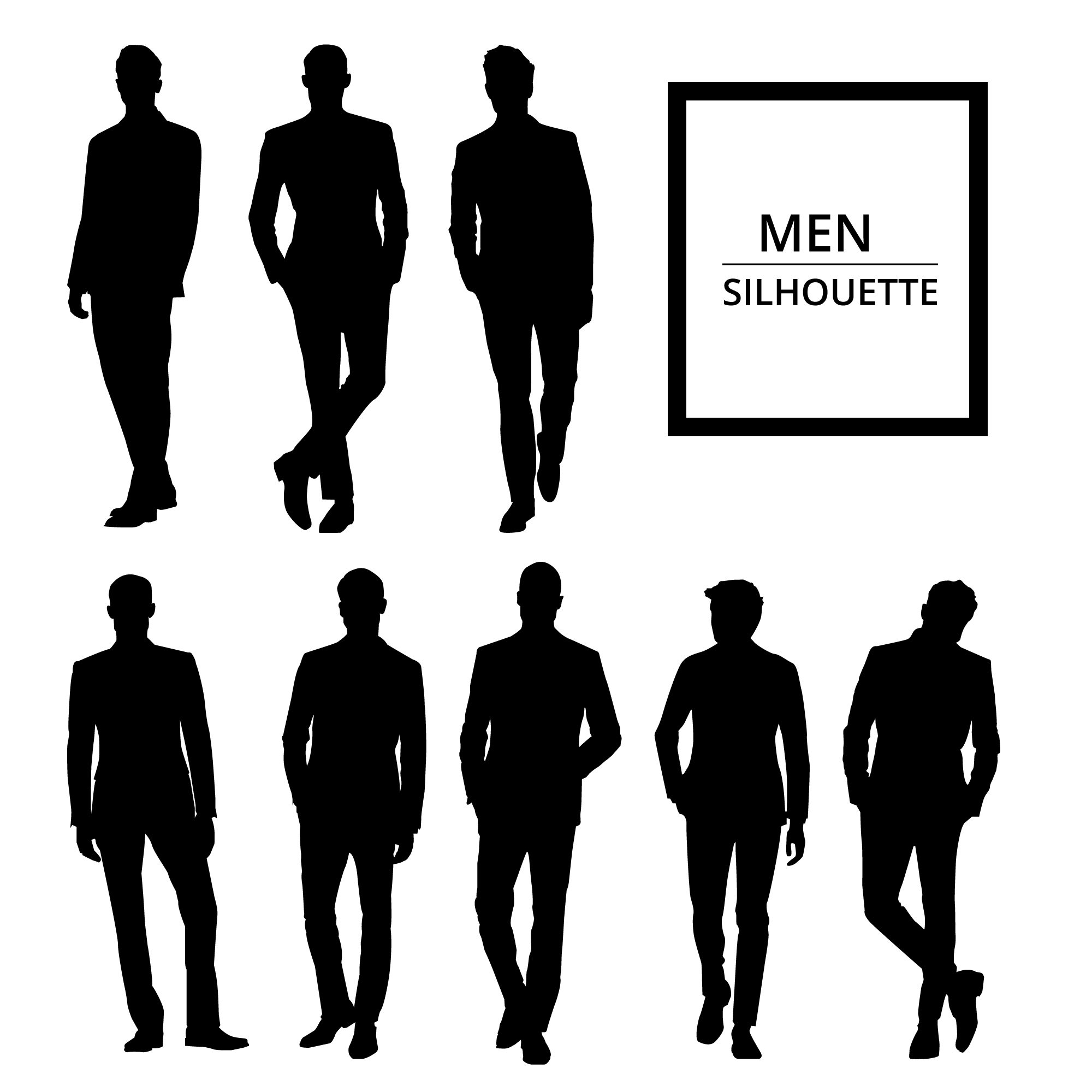 Men silhouettes in suit