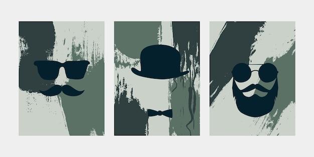 Men silhouettes posters set