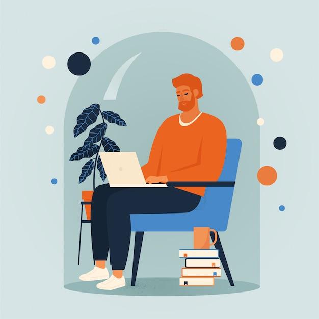 椅子に座って、家のイラストでオンラインで作業する男性。コロナウイルス隔離中の社会的距離と自己隔離。