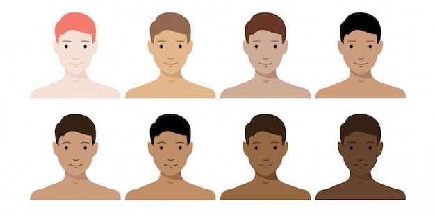 Men skin tone colors set. boy characters