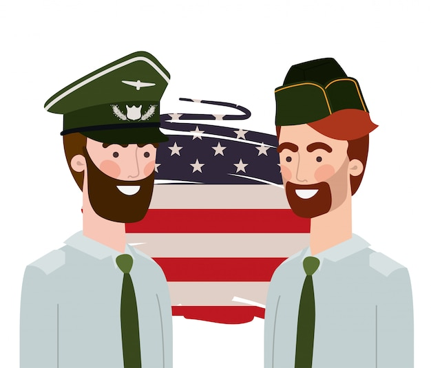 Men soldiers of war with flag of united states