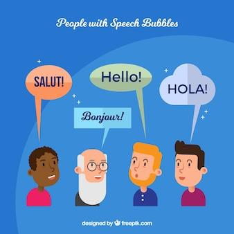 Men speaking different languages with flat design
