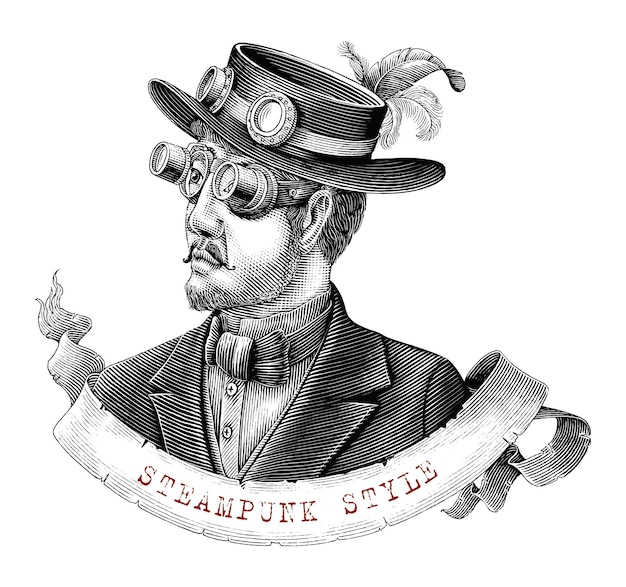 Men in steampunk costume hand draw vintage engraving style