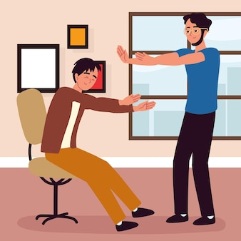 사무실에서 팔을 기지개하는 남자