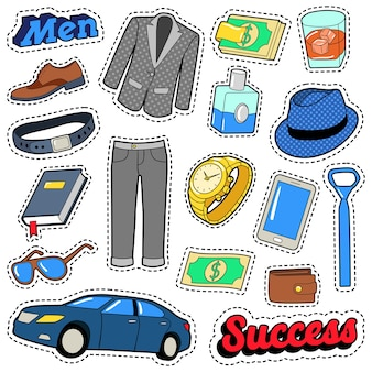Men success accessories and clothes set for stickers, patches and badges. vector doodle