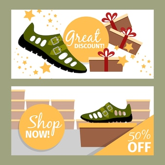 Men summer green shoe banner set