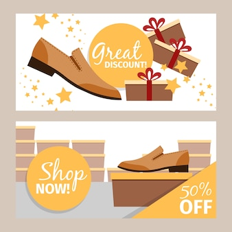 Men summer shoes horizontal banners