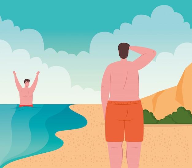 Men in swimsuit in the beach, group men in summer vacation season