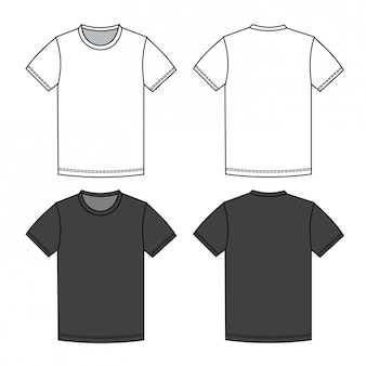 Men t shirt fashion flat sketch template