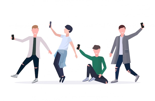 Men taking selfie photo on smartphone camera casual male cartoon characters standing together in different poses white background  full length horizontal