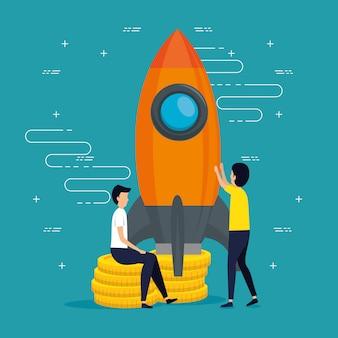 Men teamwork business with a rocket