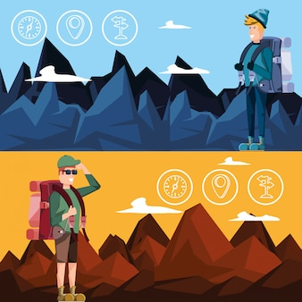 Men tourists with bag camping and set icons
